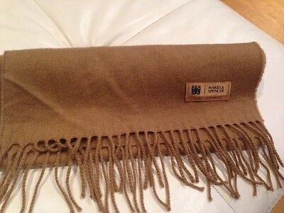 M&S 100% Cashmere , Men's Beige/ Camel Colour Scarf