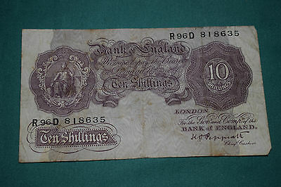 A Rough K Peppiatt Ten Shilling Banknote with nice serial R96D 818635!