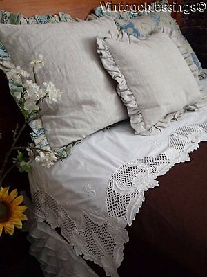 Beautiful Antique Lace Trimmed SHEET with Lavish Return (ng)