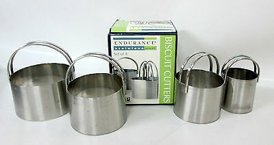 Set of 4 Edurance STAINLESS STEEL BISCUIT COOKIE DOUGH CUTTERS Round NIB