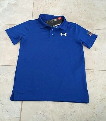 New Under Armour UPF 30 Youth Boys Royal Blue Golf Polo Shirt T-Shirt Large