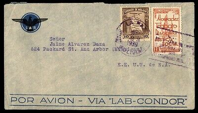 Airmail Bolivia 1939 September 23 Cover With Social Justice Issue To Usa