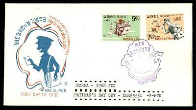 Korea 1968 Mailman'S Day Set On Cacheted First Day Cover Fdc