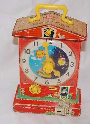 Fisher Price Vintage Music Box Teaching Clock From 1960's BFC/F2
