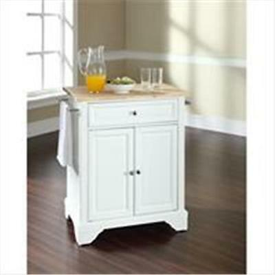 Crosley Furniture LaFayette Natural Wood Top Portable Kitchen Island in White...
