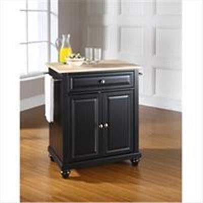 Crosley Furniture Cambridge Natural Wood Top Portable Kitchen Island in Black...