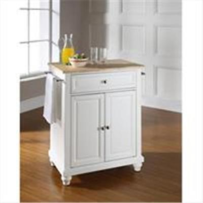 Crosley Furniture Cambridge Natural Wood Top Portable Kitchen Island in White...