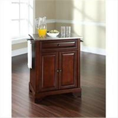 Crosley Furniture LaFayette Stainless Steel Top Portable Kitchen Island in Vi...