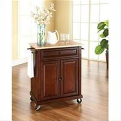 Crosley Furniture Natural Wood Top Portable Kitchen Cart-Island in Vintage Ma...