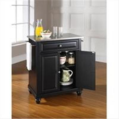 Crosley Furniture Cambridge Stainless Steel Top Portable Kitchen Island in Bl...