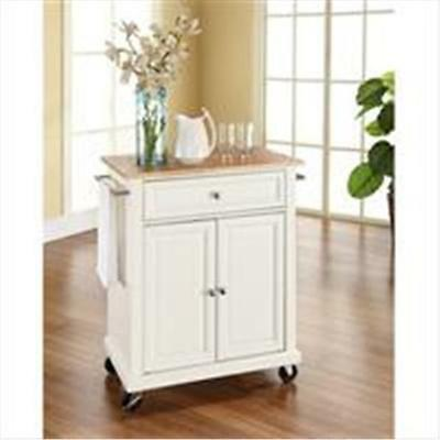 Crosley Furniture Natural Wood Top Portable Kitchen Cart-Island in White Finish