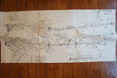 Southern Region London Central DIstrict Area No 2  Control Railway Diagram Linen