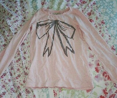 next girls pink grey bow long sleeved top age 6 (5-6/6-7)