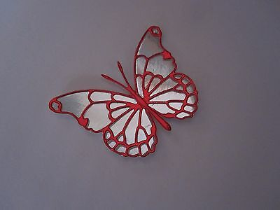 10 3D Memory Box Butterfly Toppers In Silver / Red Mirri Card