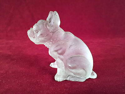 Westmoreland Frosted Clear Glass  Small Bulldog Figurine