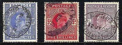 GREAT BRITAIN 1902, Edward VII 2/6,5/- and 10/-  all VF used