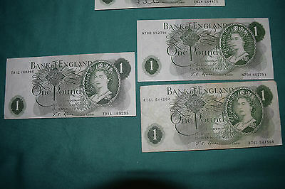 3 x J Fforde £1 One Pound Banknotes - Quite dull boring circulated notes.