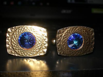 Pair of Vintage/Retro Diamond Cut Gold Plated - Blue Crystal Glass - Cufflinks