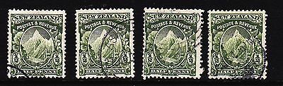 NZ 1907-8 MOUNT COOK 1/2d perf 14 x 15 SG 382 x 4 used (Lot 3)  (see desc)