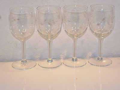 Princess House HERITAGE #420 Floral Cut 6 Inch Wine Glass' - Set of 4