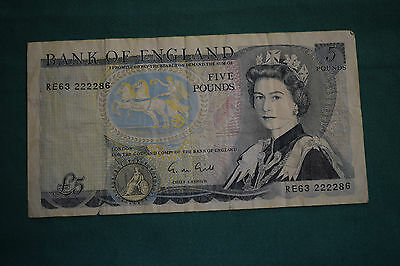 1 x G M Gill £5 Five Pound Banknote - VERY rough but niceish Serial RE63 222286