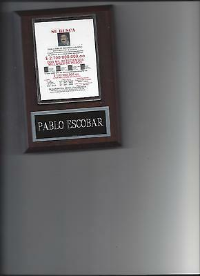 Pablo Escobar Wanted Poster Plaque Colombian Drug Lord Photo Plaque Drug Cartel