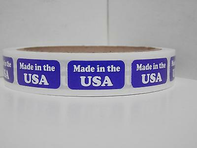 MADE IN THE USA, 1/2x1, Tiny Sticker Label, Blue,  250/rl