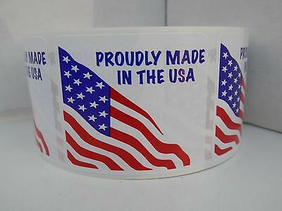 PROUDLY MADE IN THE USA with American flag 1.75x2 label sticker 250/rl