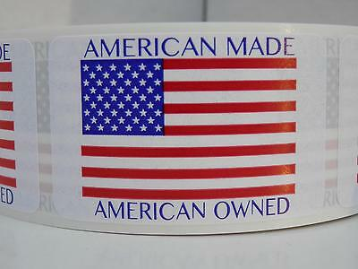 AMERICAN OWNED AMERICAN MADE IN THE USA Flag Sticker Label  rect 250/rl