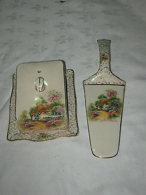 A Vintage 1940's English H&K Tunstall Homestead Cover Butter Dish & Cake Slice