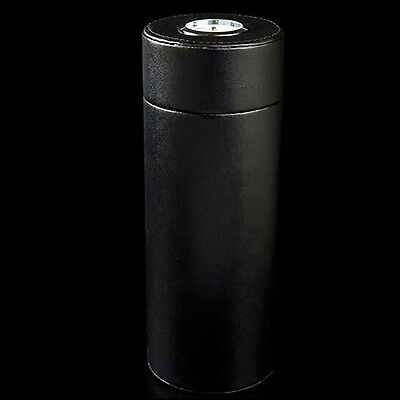 COHIBA Black Leather Wood Travel Cigar Hydrating Tube Humidor with Hygrometer