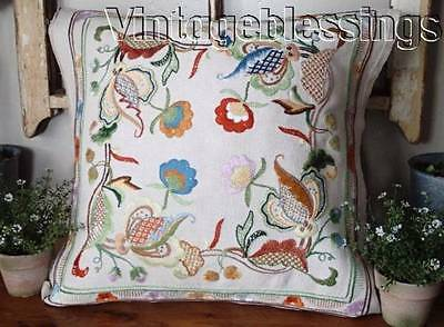 "Exquisite Jacobean Hand Embroidered Vintage Floral Pillow Cover 19"" x 19"""