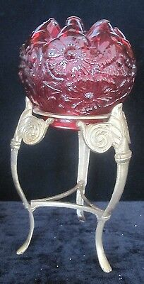 Fenton Cranberry Poppy Bowl On Metal Stand