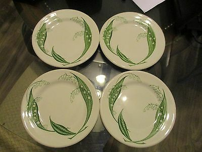 4 Royal Staffordshire Clarice Cliff Plates 7 Inch Vitrified  Lily of the Valley