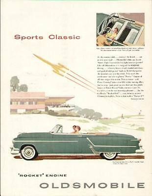 """1953 Blue Oldsmobile """"98"""" Convertible Coupe ad"""