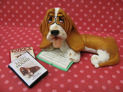 Handsculpted Red Basset Hound In Reading Glasses with Books