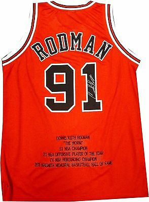 Dennis Rodman Hand Signed Autographed Chicago Bulls Stat Jersey The Worm W/ COA