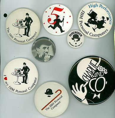 8 Vintage 1960s-90s Charlie Chaplin Promotional Advertising Pinback Buttons