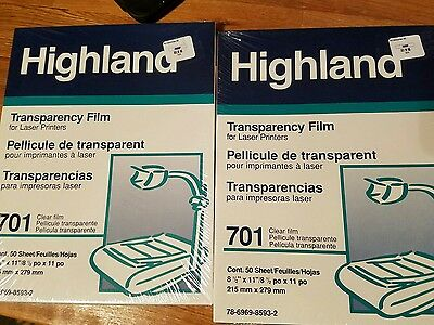 Two New Highland Transparency Film 701 laser printer 50 Sheets 78-6969-8593-2