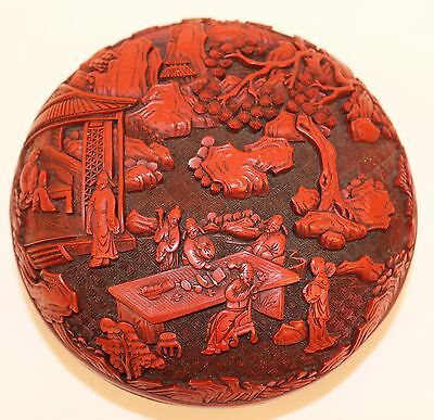 19c CHINESE CINNABAR CARVED LACQUER BOX NO RESERVE!