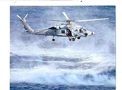 10 inch US NAVY helicopter in hover photograph HS-14 sea diver SEALS sea scape