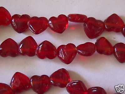 "Little Red Heart Beads 10mm 16"" 40 pc"