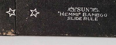 Sun Hemmi Bamboo Slide Rule No 50 with Box Made in Occupied Japan circa 1947-49
