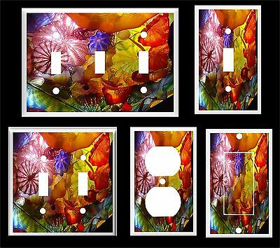 Glass Art Colorful Abstract  Light Switch Cover Plate       Made In Usa