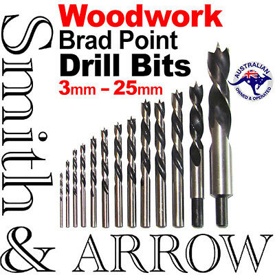 13P Set Woodwork Drill Bit Carbon Steel Brad Point Woodworking Boring Twist Wood
