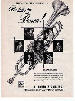 1956 Besson Trumpets Miles Davis, Ruby Braff etc Vintage Print Advertisement