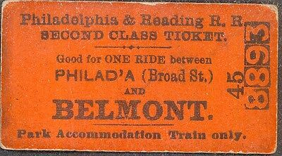 Philadelphia & Reading R.R., ticket good Park Accommodation Train Only - Belmont