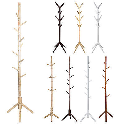 Wooden Coat Rack Hat Rack Stand Natural Clothes Hanger Cloth Rack Stand 175CM