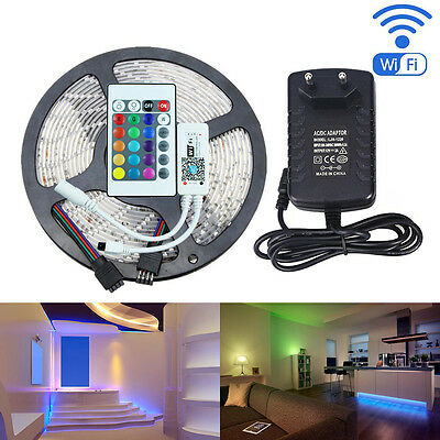 RGB 5M 2835 LED Strip Light 300leds+WiFi Controller MIC Music Control+DC Adapter