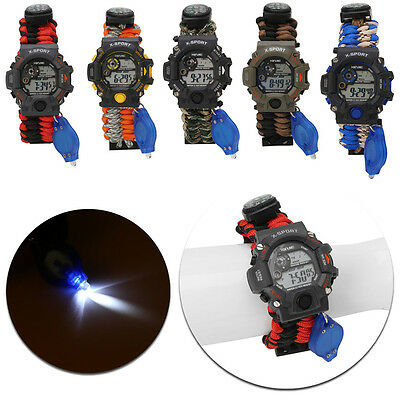 9 in 1 Survival Paracord Bracelet Compass Watch Flint Fire Starter LED Whistle